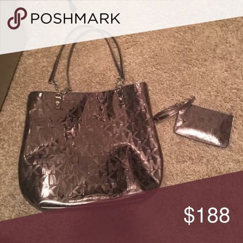 33037d5f689 Michael Kors handbag and wallet metallic Metallic mk shoulder bag,  silver nickel metallic perfect condition matching wallet Michael Kors Bags  Shoulder Bags