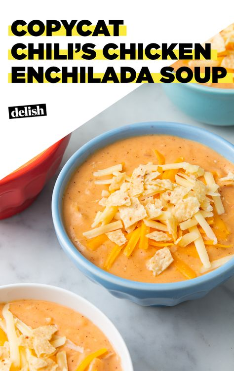 We took our favorite Cheesy Southwestern Chicken Tortilla Soup and turned it into a cheesy ground beef enchilada chili! It's such an easy chili! Chilis Enchilada Soup, Chili's Chicken Enchilada Soup, Chili Soup, Chicken Chili, Chicken Casserole, Lemon Chicken, Easy Chicken Tortilla Soup, Casserole Recipes, Recipes With Enchilada Sauce
