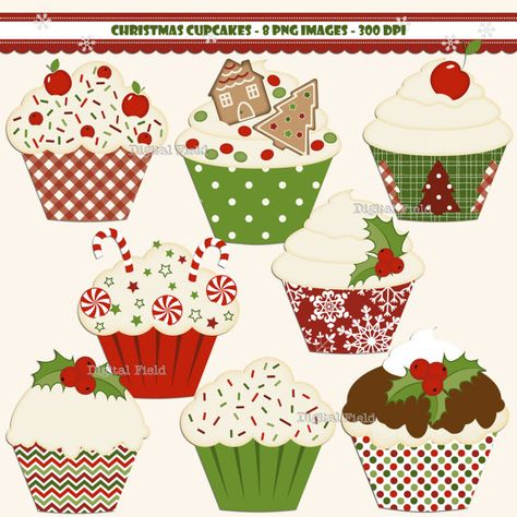 INSTANT DOWNLOAD Christmas Cupcake clip art set  by digitalfield, $3.00
