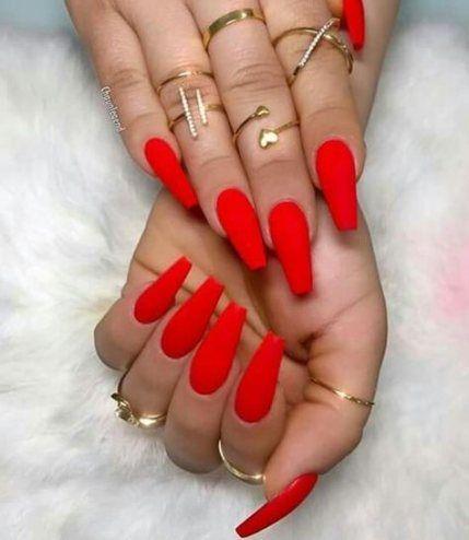 Coffin Nail Designs Matte Red
