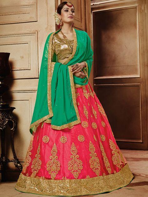 Ravishing pink art silk festival wear designer lehenga ...