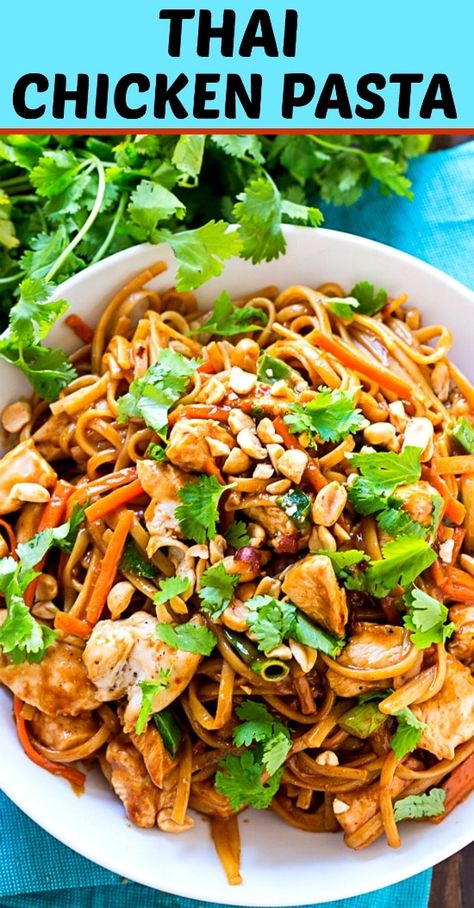 Thai Chicken Pasta - Spicy Southern Kitchen #dinner #chicken