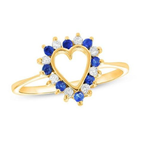 Zales Zales Blue Sapphire and 1 6 CT T w Diamond Heart