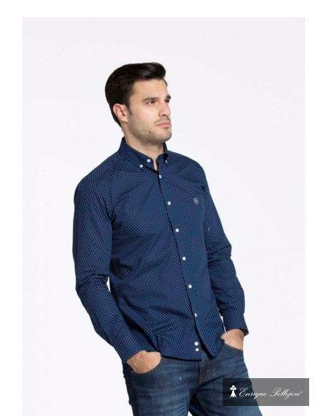 44c175b5f Valecuatro camisa azul marino con pequeño dibujo en blanco y azul ...