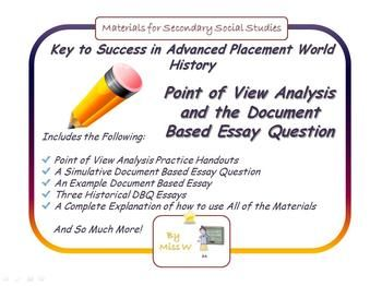Ap World History Teaching Point Of View Analysi And The Dbq Creatively Lessons Sample Essays