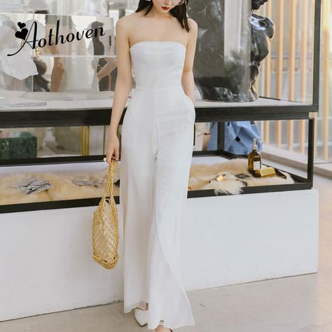 3d83f7ce9c 2018 Summer Strapless Jumpsuits Rompers Women White Sleeveless Straight  Pants Office Lady for Women Sheath Party
