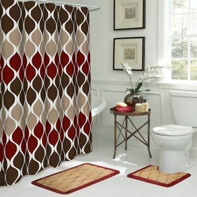 Details About Tan Burgundy Brown Geo 15 Pc Shower Curtain Set