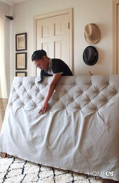 How To Make A Diamond Tufted Headboard : A headboard is a great way to make your bedroom look put together! See how to make a DIY Tufted headboard here! Diy Tufted Headboard, Diy Headboards, Making A Headboard, Headboard Ideas, Bedroom Furniture, Diy Furniture, Bedroom Decor, Furniture Stores, Modern Furniture