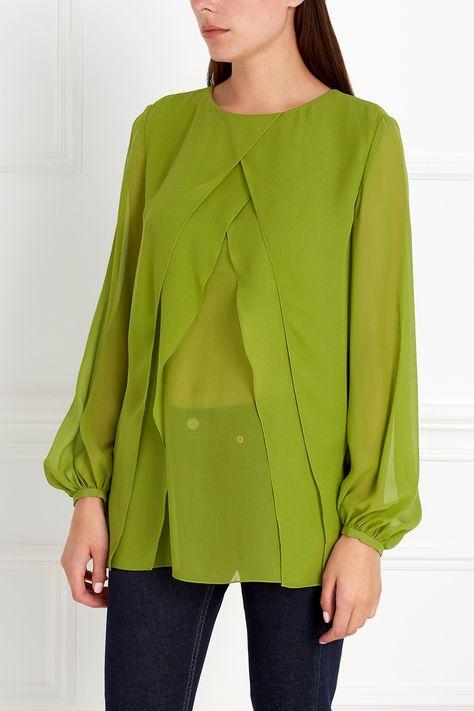 5568e045348 Необычная блузка зеленого цвета из натурального тонкого шелка в несколько  слоев…