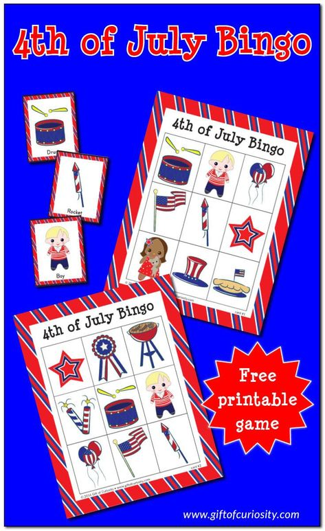 Free printable 4th of July Bingo game. A perfect patriotic game for small groups of kids ages 2 to 9. Download your free copy today! #freeprintable #bingo #4thOfJuly #IndependenceDay #giftofcuriosity || Gift of Curiosity