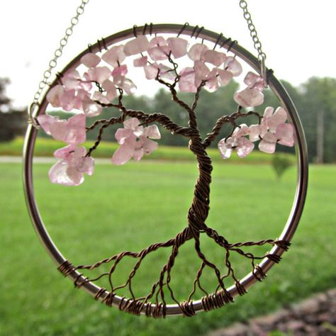 Rose Quartz Wire Tree of Life Wall Hanging Cherry Tree Bonsai