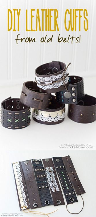 DIY Leather Belt Cuff Tutorial by Making the World Cuter for Make It & Love It.Some of these cuffs have snap closures and other just tie. I like that you can also make unisex versions of this DIY leather belt cuff.For more DIY leather cuffs, see below:DIY Unisex Leather Snap Cuff from The Red Kitchen here.  DIY Belt to Leather Cuff with Rhinestone Closure from Wobisobi here.  DIY Leather O Ring Bracelet from Sometimes Homemade here.  DIY Two Easy Knockoff Tutorials for the Celine Spring ...