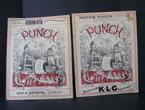 Vintage 2 Punch or the London Charivari Magazines, 1939 and 1940, Illustrations, Politics, Gillette ad, Satrical Magazine, s