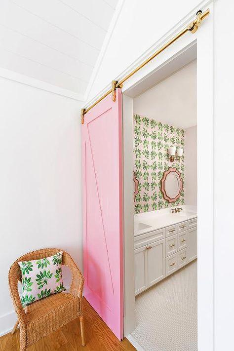 Decor, Green Pillows, Kid Bathroom Decor, Interior Barn Doors, Pink Bathroom, Master Decor, Interior, Home Decor, Room