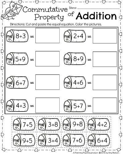 1st Grade Math Worksheets For February Commutative Property Of Addition First Grade Math Worksheets 1st Grade Math 1st Grade Math Worksheets Properties of addition worksheets