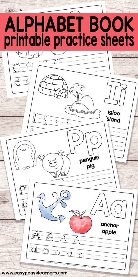 Free Printable Alphabet Book - Alphabet Worksheets for Pre-K and K - Easy Peasy Learners worksheets free printables Free Alphabet Tracing Printables, Free Printable Worksheets, Free Printables, Free Printable Alphabet Worksheets, Pre K Worksheets, Kindergarten Worksheets, Coloring Worksheets, Preschool Letter Worksheets, Weather Worksheets
