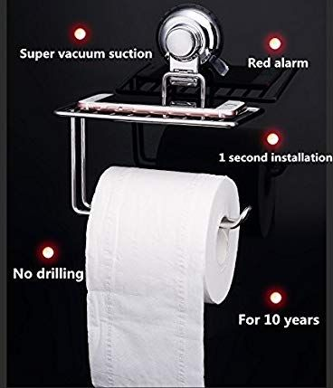 Toilet Paper Holder Towel Tissue Rack Suction Cup Wall Mount Kitchen Roll Holder