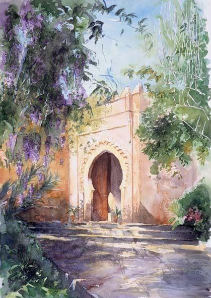 Jardin Et Mausolee Du Chellah Peinture Par Catherine Rossi