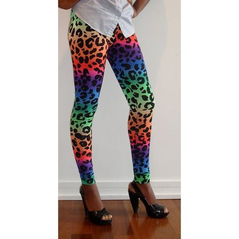 bb54a8c530ef liked on Polyvore featuring pants, leggings, legging pants, leopard pants, rainbow  leggings, rainbow pants and leopard print leggings