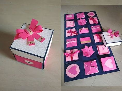 """PINK """"GIFT BOX"""" BOW /& RIBBONS CHRISTMAS MOTHERS DAY BIRTHDAYS JEWELRY 10x10cm"""