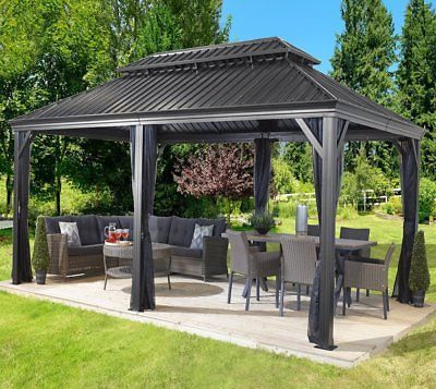 Patio Sun Shelter Pool Furniture Gazebo 12 X 20 Ft Hardtop Steel Roof Garden Set Backyard Pavilion Hardtop Gazebo Backyard Gazebo