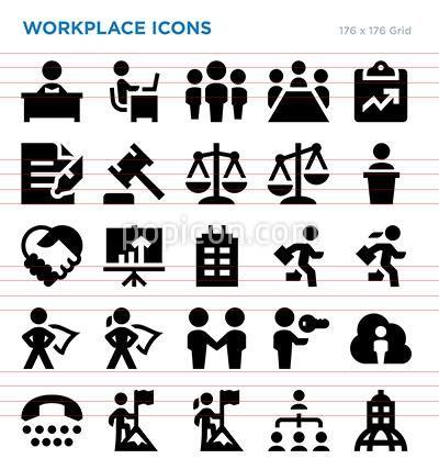 Workplace Vector Icon Set Icon Set Vector Icon Set Business Icon