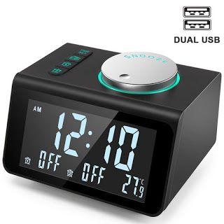 Anjank Small Alarm Clock Radio With Fm Radio Dual Usb Charging