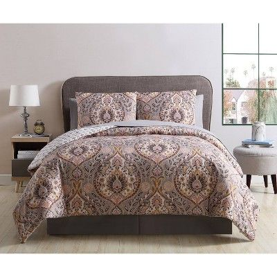 Queen Brynn Bed In A Bag Print Comforter Set Gray Gold Vcny Home