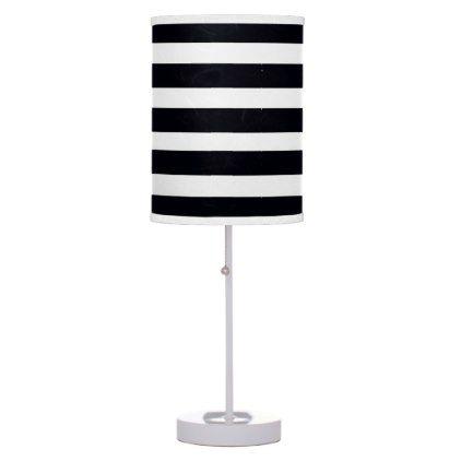 Elegant Modern Chic Black And White Stripes Table Lamp Zazzle