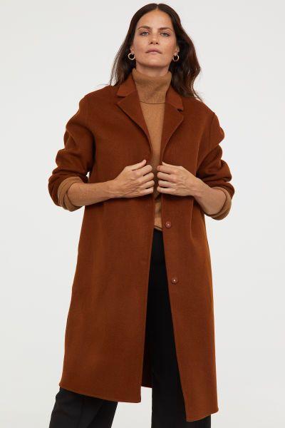 Mantel Aus Kaschmirmix Braun Damen H M De Mantel Kleidung Kombinieren Jacken Damen