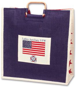 SALE! Nice, roomy Jute Bag with Ladies Auxiliary Emblem and U.S. Flag.  While Quantities Last. Was $11.00, NOW $9.95! vfwstore.org