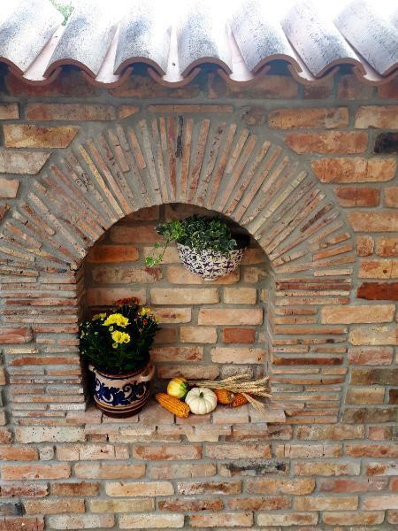 Antik Rundbogen Torbogen Sturz Historische Bauelemente Ziegel Geschnitten Ruinenmauer Garten Ruinenmauer Ziegel Torbogen