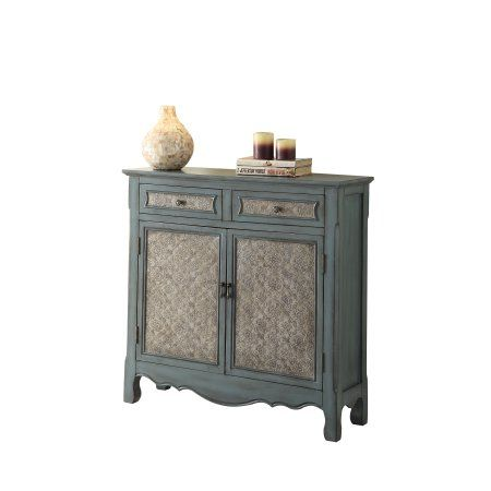 Acme Wren Console Table Antique Blue Size 12 Inchw X 35 Inchh In