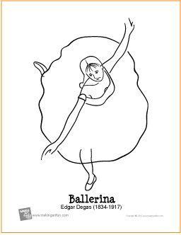 Ballerina Degas Free Printable Coloring Page Makingartfun