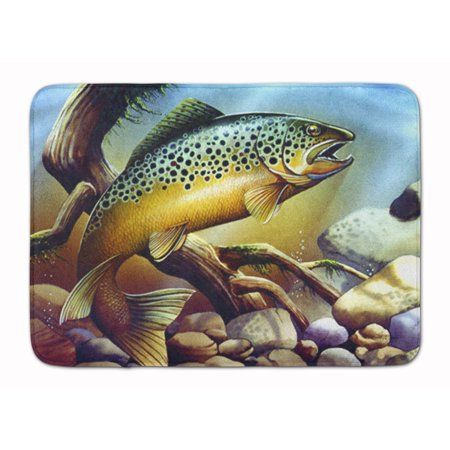 Brook Trout Machine Washable Memory Foam Mat Plush top and very comfortable to the touch. This is a Machine Washable bath or kitchen mat that is made with Memory Foam.