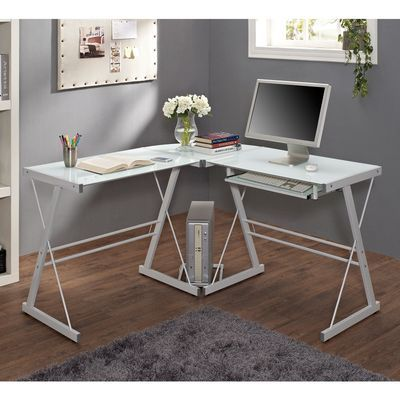 Modernize Your Home Office Or Study With This Corner Computer Desk Crafted From Durable S Corner Computer Desk White Corner Computer Desk Glass Computer Desks