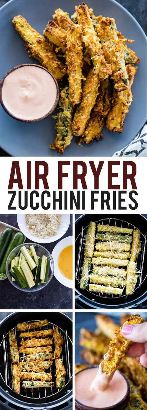 Air Fryer Zucchini Fries Crispy parmesan zucchini fries baked in the air fryer. … Air Fryer Zucchini Fries Crispy parmesan zucchini fries baked in the air fryer. These low carb and keto diet friendly zucchini fries (aka ch… Air Frier Recipes, Air Fryer Oven Recipes, Air Fryer Dinner Recipes, Air Fryer Recipes Potatoes, Air Fryer Recipes Vegetarian, Air Fryer Recipes Vegetables, Low Carb Vegetables, Vegetarian Keto, Zucchini Pommes