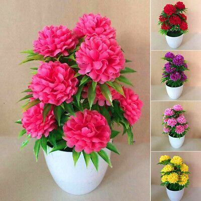 Artificial Flowers Bonsai Fake Plant Flower Potted Home Garden Office Desk Decor