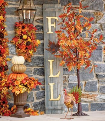 Leaning Against A Wall Indoors Or On A Covered Porch This Unique Fall Sign Makes An Impressi Fall Decorations