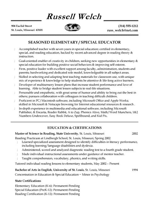 Special Education Teacher Resume Sample Student Career - resume for elementary teacher