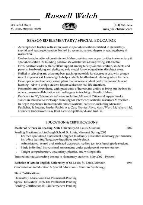 Special Education Teacher Resume Sample Student\/Career - resume for elementary teacher