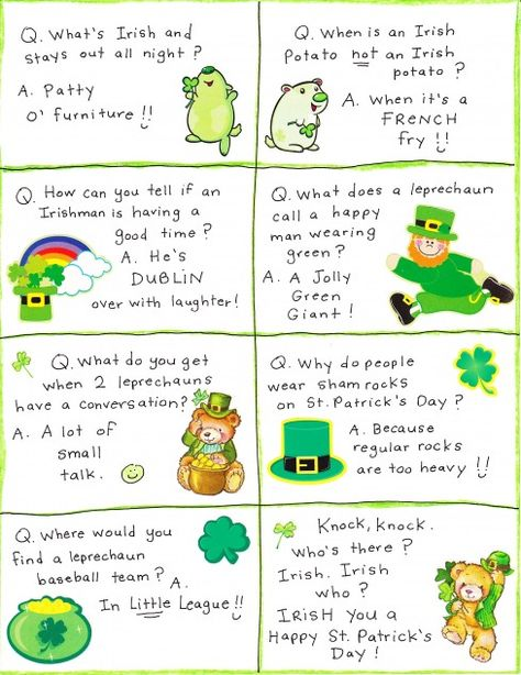 St. Patrick's Day lunchbox jokes!  I've been doing this ALL year for Peyton...and always seem to find more each month!! :)