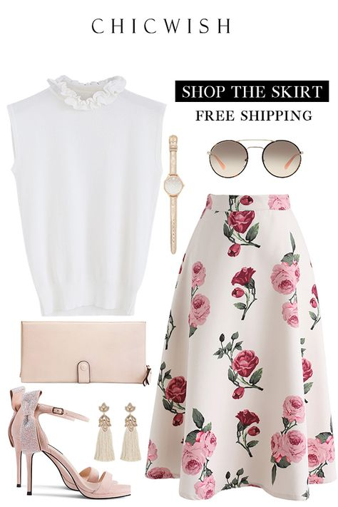 Free Shipping & Easy Return. Up to 30% Off. Peony Motif A-Line Midi Skirt and Ruffle My Heart Sleeveless Knit Top. #outfit #womenfashion #clothing #fashion #ootd #springoutfit #top #skirt #casualoutfit #knittop #alineskirt #midiskirt #peony