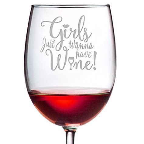 Girls Just Wanna Have Wine - 19 oz Large Etched ARC Cachet Wine Glass - Perfect Gift for Her ** Continue to the product at the image link.