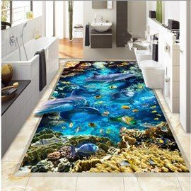 Abundant Marine Living In The Blue Sea Pattern Waterproof And Antiskid 3d Floor Murals Abundant Antiskid Blue Floor Living Marine In 2020 Wandbilder Bilder Wand