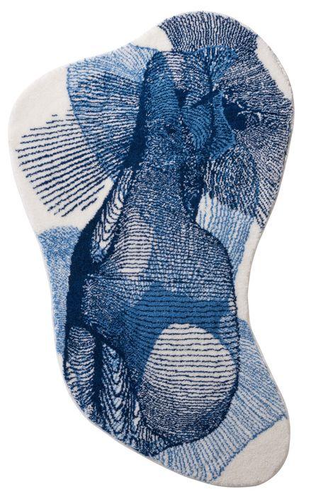 Der Moderne Badteppich Mit Ausgefallenen Muster In Blau Und Asymmetrischer  Form Aus Polyacryl Supersoft Ist Rutschhemmend Beschichtet Und Waschbar U2026
