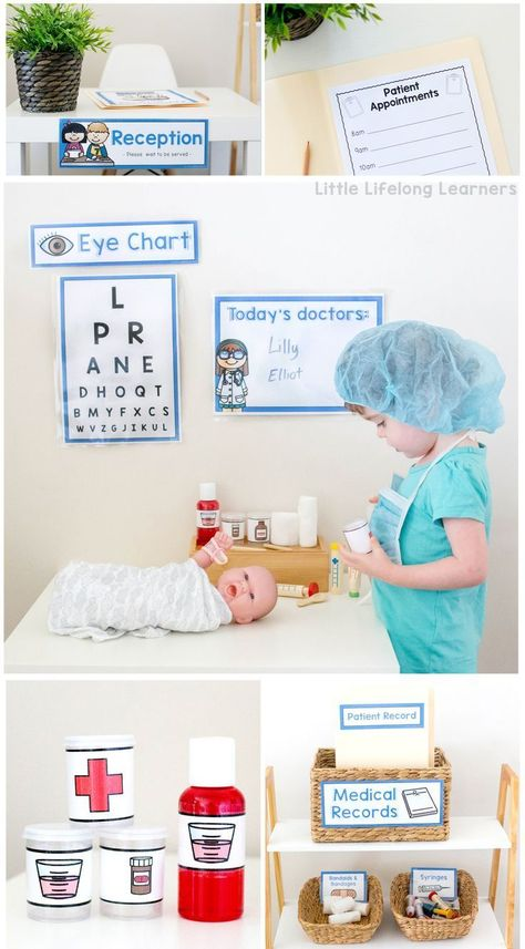 Doctor themed imaginative role play Dramatic play printables for toddlers and preschoolers Prep Foundation Kindergarten play printable posters Dramatic Play Themes, Dramatic Play Area, Dramatic Play Centers, Preschool Dramatic Play, Toddler Preschool, Toddler Activities, Preschool Classroom, Doctor Theme Preschool, Family Activities
