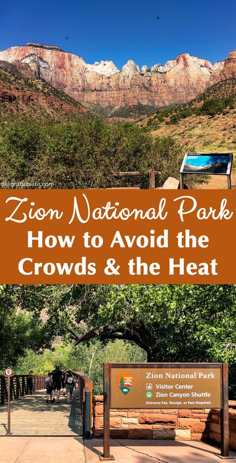 10 Tips to Avoid The Crowds & The Heat at Zion National Park - - 10 essential tips to beat the crowd and the heat at Zion National Park, even in peak season. Strategy to avoid long lines and have a great experience at this spectacular park. Us National Parks, Yosemite National Park, Zion Park, Vegas, Utah Vacation, Family Vacations, Vacation Ideas, Utah Hikes, By Train