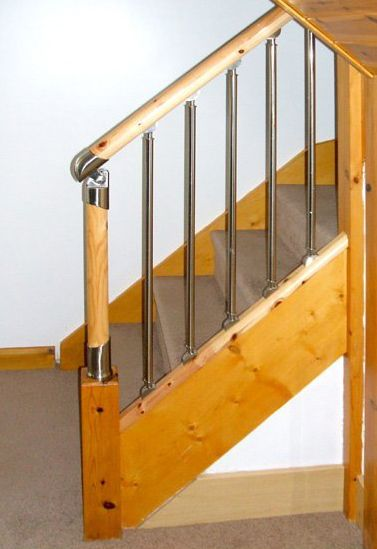 Fusion Chrome Spindles With A Pine Handrail And Baserail