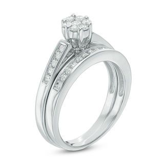 1 2 Ct T W Diamond Flower Bridal Set In 10k White Gold From This Moment Collections Diamond Bridal Sets White Gold Engagement Rings Diamond Wedding Bands